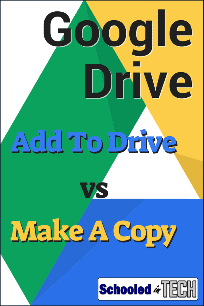 The difference between Add to Drive and Make a Copy in Google Drive. Great organizational options for students and teachers looking for tech tips. #GoogleDrive #Google #Teacher #Cloud #students #school #classroom #techtips