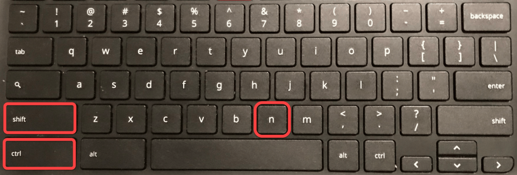 Open a Chrome Incognito window using the keyboard by pressing Ctrl, Shift, N