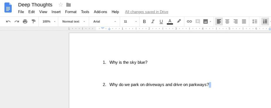 Question and Answers in Google Docs