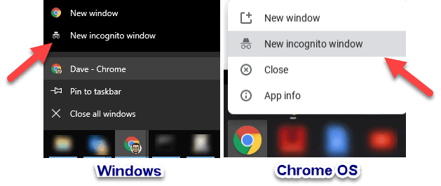 Examples of how to open a Chrome Incognito window in Windows and on a Chromebook.
